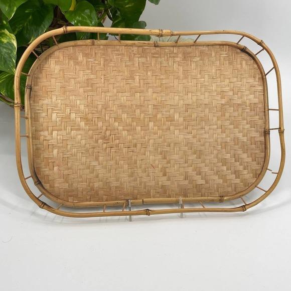 Bamboo Boho Chic Vintage Rattan Tray Home Decor